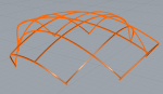 Basic Grid shell with wide intersections.  Perspective.